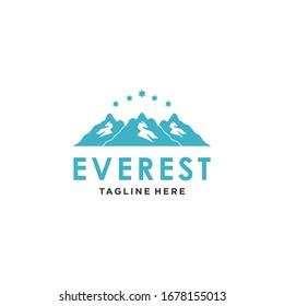 Simple Modern Mountain Logo Design Vector