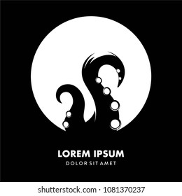 simple modern ooctopus logo template vector, tentacle logo silhoutte background isolated, octopus and moon logo on the ocean
