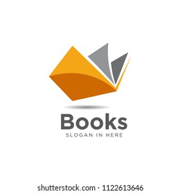 simple modern orange book open logo and icon