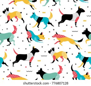 Simple modern pattern with dogs in the style of Memphis. Pattern with geometric shapes of the 80s
