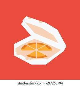 simple modern pizza slices icon isolated in a opened carton box. delivery flat design style. italian food clean cartoon. cool & fast or junk food brunch or dinner illustration