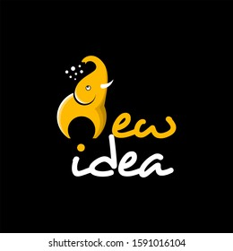 simple modern playful cartoon elephant and negative space electric bulb vector with new idea text art. Education logo template. Print art or shirt design inspiration