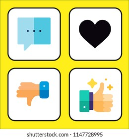 Simple modern set of 4 multi-colored icons related like  such as comment,like,dislike,rating