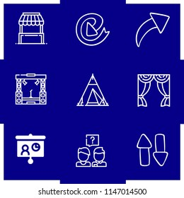 Simple modern set of 9 outline icons about presentation icons such as fair stand,circular arrow,increasing,stage