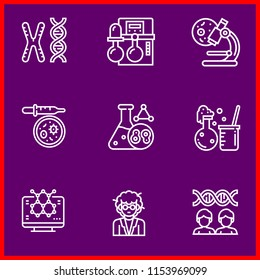 Simple modern set of 9 outline icons related research  such as chromosome,chemistry,microscope,petri dish