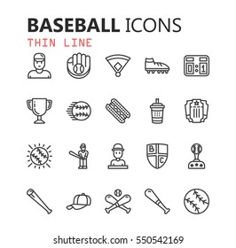 Simple modern set of baseball icons. Premium symbol collection. Vector illustration. Simple pictogram pack.