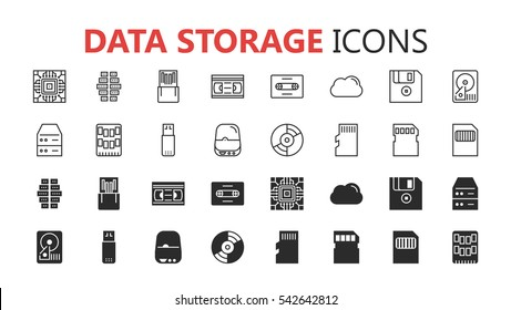 Simple modern set of data storage icons. Premium symbol collection. Vector illustration. Simple pictogram pack
