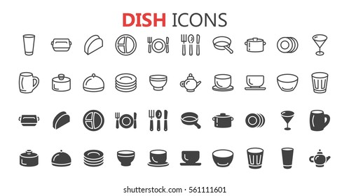 Simple modern set of dish icons. Premium symbol collection. Vector illustration. Simple pictogram pack.