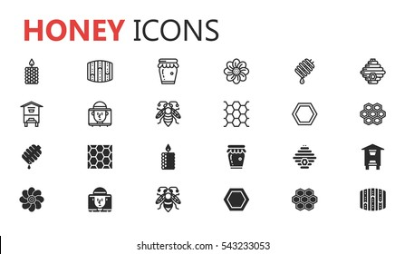Simple modern set of honey icons. Premium symbol collection. Vector illustration. Simple pictogram pack.