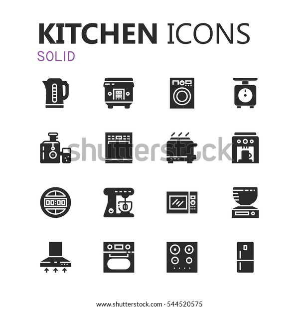 Simple Modern Set Kitchen Appliances Icons Stock Vector Royalty