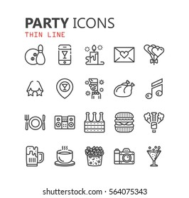 Simple modern set of party icons. Premium symbol collection. Vector illustration. Simple pictogram pack.