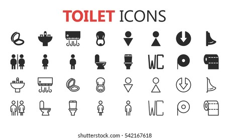 Simple modern set of toilet icons. Premium symbol collection. Vector illustration. Simple pictogram pack.
