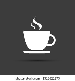 Simple modern white cup of coffee vector icon on grey background, espresso cup symbol