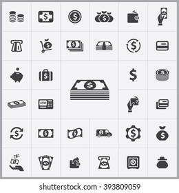 Simple money icons set. Universal money icon to use in web and mobile UI, set of basic UI money elements