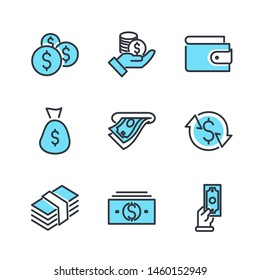 Simple of Money Related Vector Line Icons Set. Wallet, ATM, Bundle of Money, Hand with a Coin and more symbol. Editable Stroke.