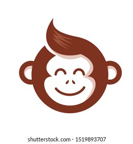 simple monkey head icon logo vector  with cute design style