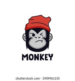 Simple monkey head logo design mascot