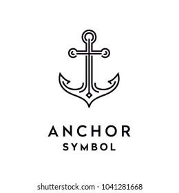 Simple Mono Line Art Anchor Boat Ship Nautical logo design vector