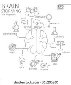 Simple mono linear pictogram Infographic Brain storming concept.  Stroke vector logo concept, web graphics. Vector Illustration.