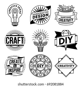 Simple Mono Lines Logos Collection. Creativity DIY Craft.