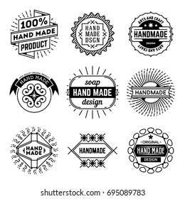 Simple Mono Lines Logos Collection. Hand Made Design Craft Set 8.