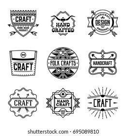 Simple Mono Lines Logos Collection. Hand Craft Design Set 3.