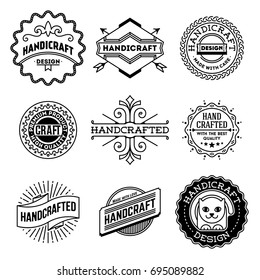 Simple Mono Lines Logos Collection. Hand Craft Design Set 7.
