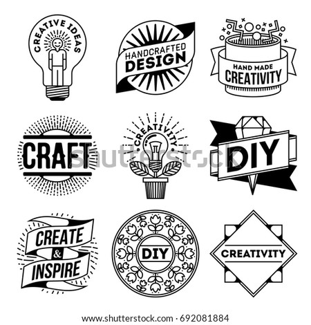 Simple Mono Lines Logos Collection Creativity Stock Vector Royalty