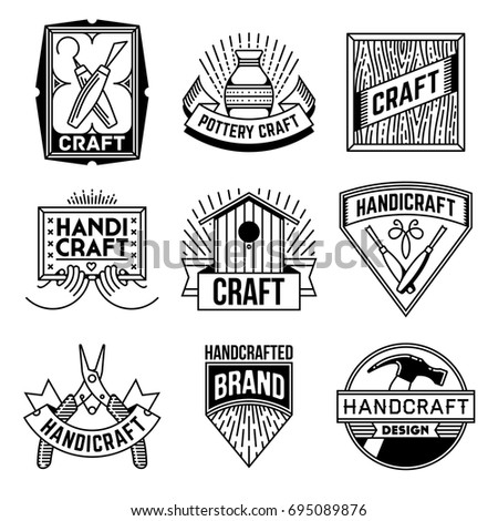Simple Mono Lines Logos Collection Hand Stock Vector Royalty Free