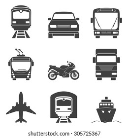 Simple monochromatic transport icons set. Vector EPS8 illustration.
