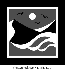 simple monochrome icon with sea waves, mountains and seagulls