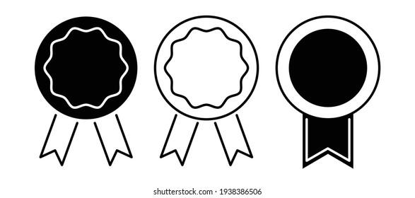 Simple monochrome medal icon, vector illustration.