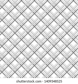 Simple monochrome vector diagonal cell seamless pattern. White background