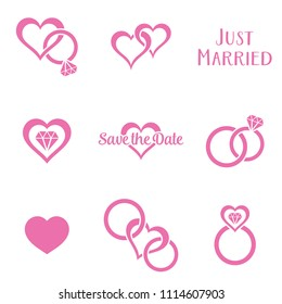 Simple monochrome wedding symbols with rings and hearts