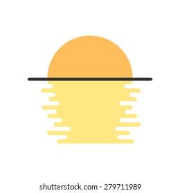 simple moon light on the water. concept of moonlit, reflect, shining, moonrise, satellite, morning, sunrise. isolated on white background. flat style modern logotype design vector illustration