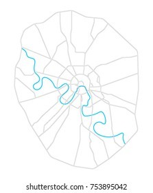 Simple Moscow map with main roads, highways and the Moscow river