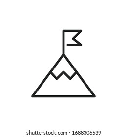 Simple mountain line icon. Stroke pictogram. Vector illustration isolated on a white background. Premium quality symbol. Vector sign for mobile app and web sites.