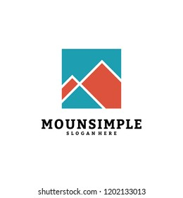 Simple mountain logo vector template design, mount in box, A-initial logo.