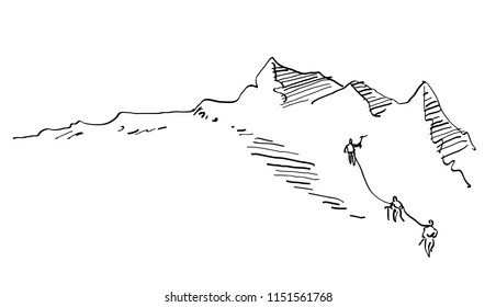 Simple mountain travel team vector illustration, for climbing,  mountaining, hiking and mountaineering design, hand drawn
