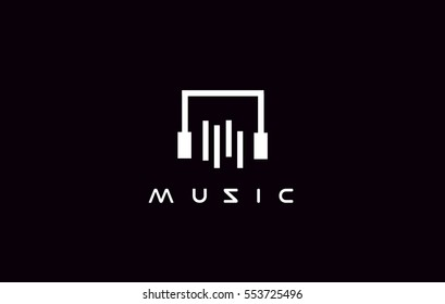 Simple music headphones vector logo icon sign design template
