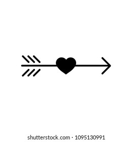 Simple Native Americans Black Arrow with heart, hipster logo element