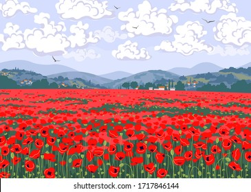 Simple natural horizontal background with red blooming poppies. Tuscany landscape with poppy field, hills, floating clouds and flying birds in sky. Serenity nature view vector illustration.