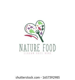 Simple nature and organic food logo concept vector