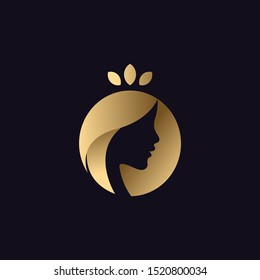 simple negative space illustration or logo of a Beauty long hair woman or girl silhouette wearing natural leaves crown in elegant gold color black background .vector