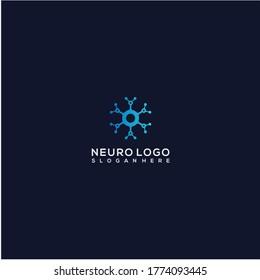 Simple neuro technology logo design vector illustration