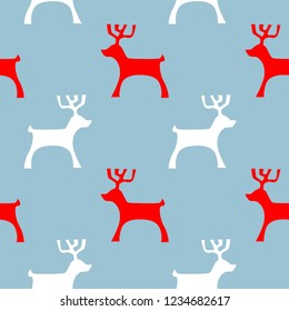 Simple New Year's red and white reindeer, seamless pattern