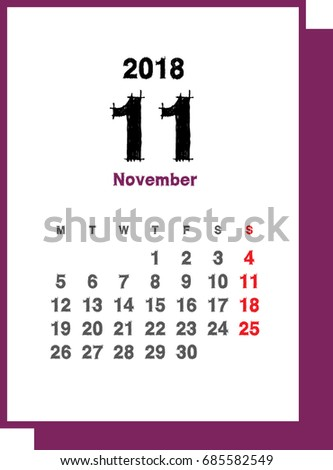 simple november 2018 calendar week starts from monday