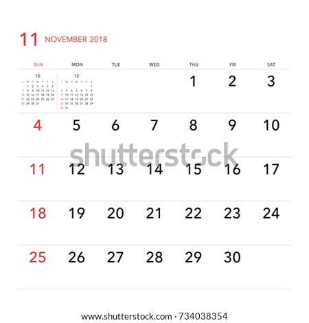 simple november 2018 calendar week starts from sunday