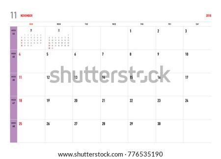 simple november 2018 calendar week starts from sunday