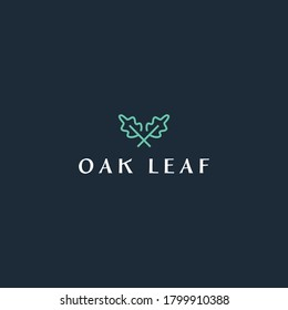 simple oak leaf logo concept for business, farming, ecology and golf company with out line, elegant and minimalist styles